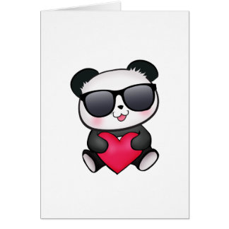 Cool Panda Bear Sunglasses Valentine's Day Heart Card