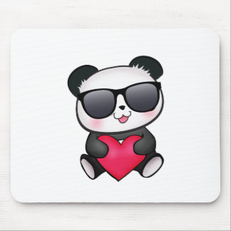 Cool Panda Bear Sunglasses Valentine's Day Heart Mouse Pad