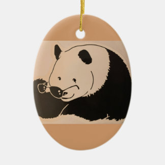 Cool Panda with Shades Ceramic Ornament