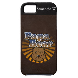 Cool Papa Bear, Brown/Blue/Gold Dad Gift Case For The iPhone 5