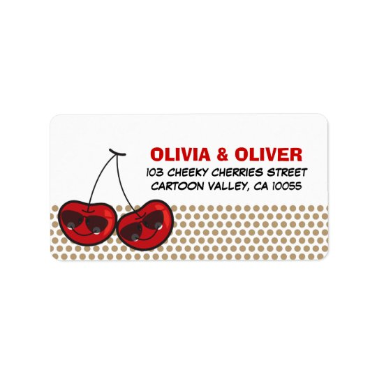Cool Party Cherries Twins Birthday Address Labels