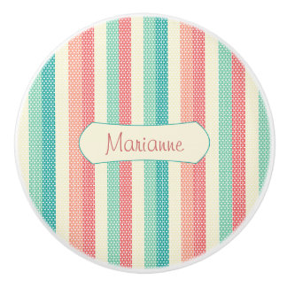 Cool Pastel Denim Stripes Personalized Ceramic Knob
