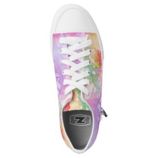 Cool Pastel Modern Abstract Watercolor Monogram Low-Top Sneakers
