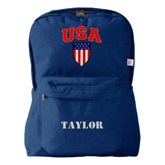 Cool Patriotic Authentic USA Flag Shield Monogram Backpack