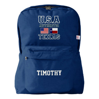 Cool Patriotic Authentic USA Texas Flags Monogram Backpack