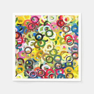 Cool Pattern Abstract Color Rings Poster Disposable Napkin