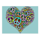 Cool Peace Love Heart Postcards