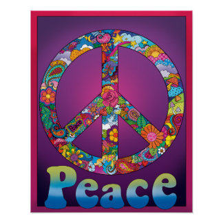 Cool Peace Sign Poster retro 1960's look