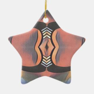 Cool Peach Gray Modern Artistic Abstract Ceramic Star Ornament
