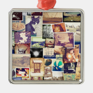 Cool Photo Filter Hipster Collage Silver-Colored Square Ornament