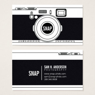 Cool photographer camera modern black illustration business card