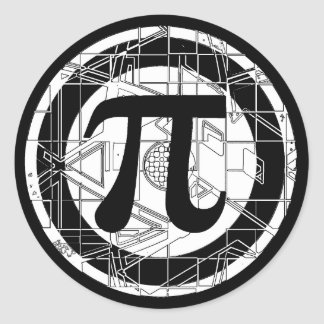 Cool Pi Symbol Classic Round Sticker