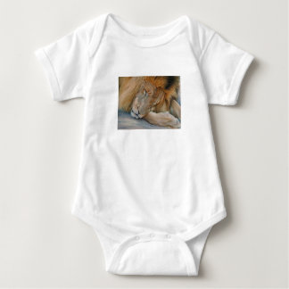 Cool picture of cute African Lion sleeping. Baby Bodysuit
