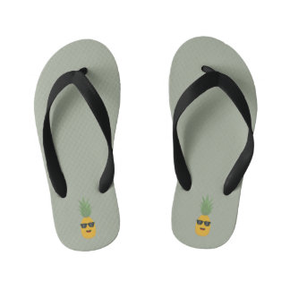 cool pineapple kid's flip flops