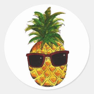 Cool pineapple round sticker