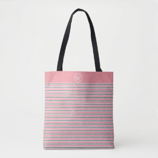 Cool Pink Argentic Glitter Monogrammed Tote Bag