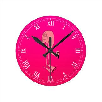 Cool Pink Cartoon Flamingo Round Clock