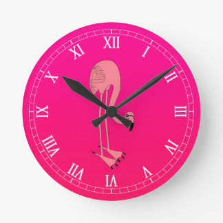 Cool Pink Cartoon Flamingo Wallclock