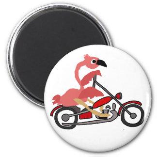 Cool Pink Flamingo Riding Motorcycle Cartoon Magnet
