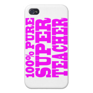 Cool Pink Gifts 4 Teachers 100% Pure Super Teacher iPhone 4/4S Cases