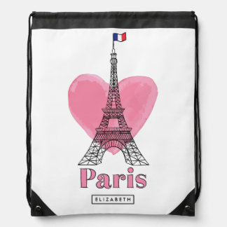 Cool Pink Paris Eiffel Tower Modern Backpack