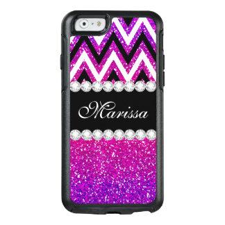 Cool Pink Purple Glitter B & W Chevron OtterBox iPhone 6/6s Case