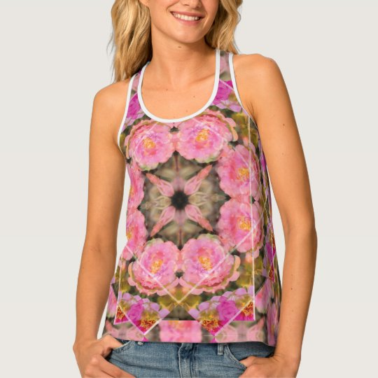 Cool Pink Rose Moss Tank Top