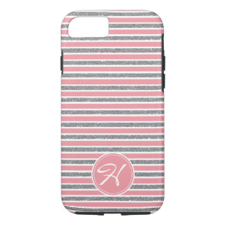 Cool Pink Silver Glitter Monogrammed iPhone 8/7 Case