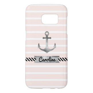 Cool Pink Stripes Watercolor Anchor Custom Samsung Galaxy S7 Case