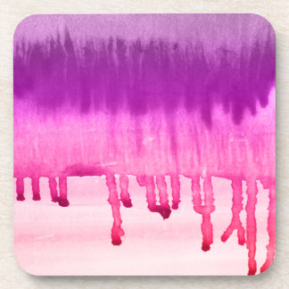 Cool Pink Violet Watercolors Ombre Beverage Coasters