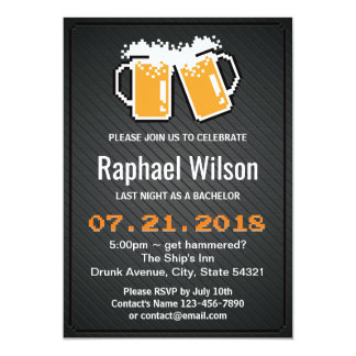 """Cool Pixel Beers & Twill Metal Bachelor Party Card 5"""" X 7"""" Invitation Card"""