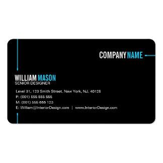 Cool Plain Black and Blue Modern Business Card