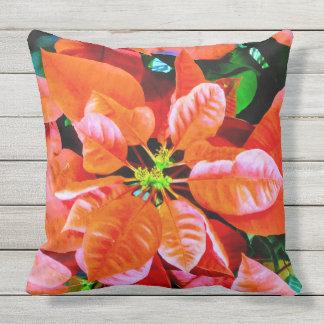 Cool Poinsettia Plant Photo Print Design Outdoor Pillow