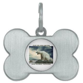 cool POLAR BEAR AND GLOBAL WARMING designs Pet ID Tags