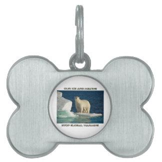 cool Polar Bears against GLOBAL WARMING designs Pet ID Tags