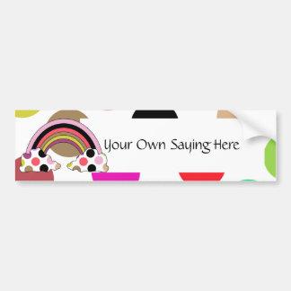 Cool Polka Dot Rainbow Bumper Sticker