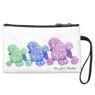Cool Poodle Trio Beaded Print Wristlet Purse