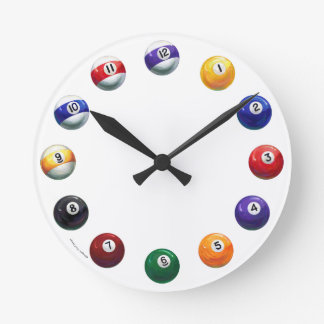 Cool Pool Balls Round Wall Clock