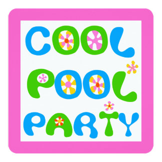 """Cool Pool Party 5.25"""" Square Invitation Card"""