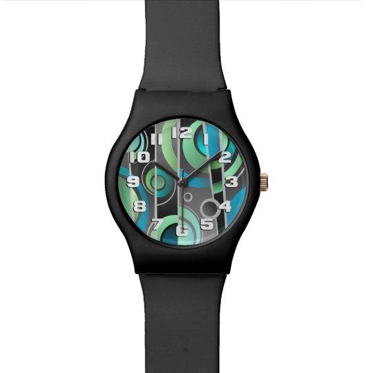 Cool Pop Art Abstract Geometric Pattern Wristwatch