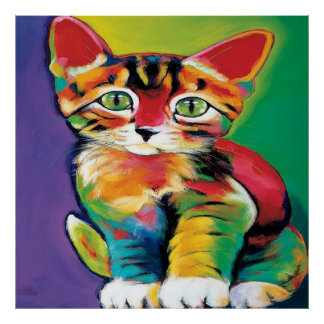 Cool pop art cat home office decor poster