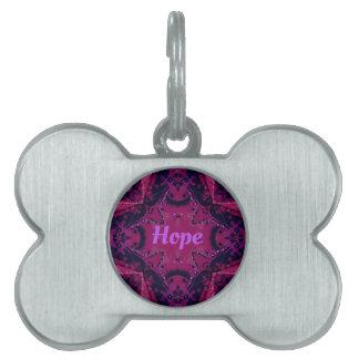 Cool Pop Magenta Lavender 'Hope'  Artistic Design Pet Name Tag