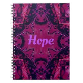 Cool Pop Magenta Lavender 'Hope'  Artistic Design Spiral Notebook