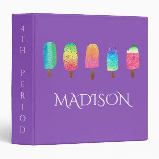 Cool Popsicles Purple Custom School 3 Ring Binder