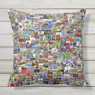 Cool Postcards Mosaic Design Throw Pillow