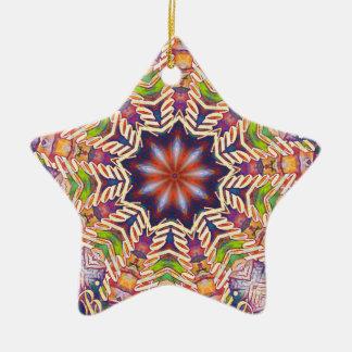 Cool Psychedelic Pastel Mandala Shaped Ceramic Star Ornament