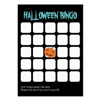 Cool Pumpkin Dark 5x5 Halloween Party Bingo Card Large Business Card
