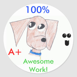 """Cool Puppy """"Awesome Work"""" stickers"""