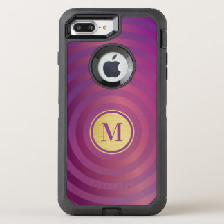Cool Purple Designer Stripe Pattern Gold Monogram OtterBox Defender iPhone 8 Plus/7 Plus Case