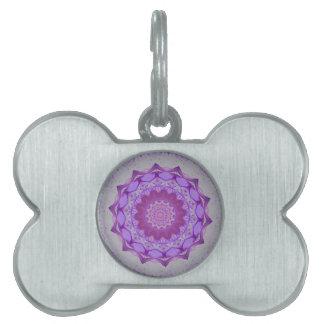 Cool Purple Kaleidoscope  Mandela Pattern Pet ID Tag